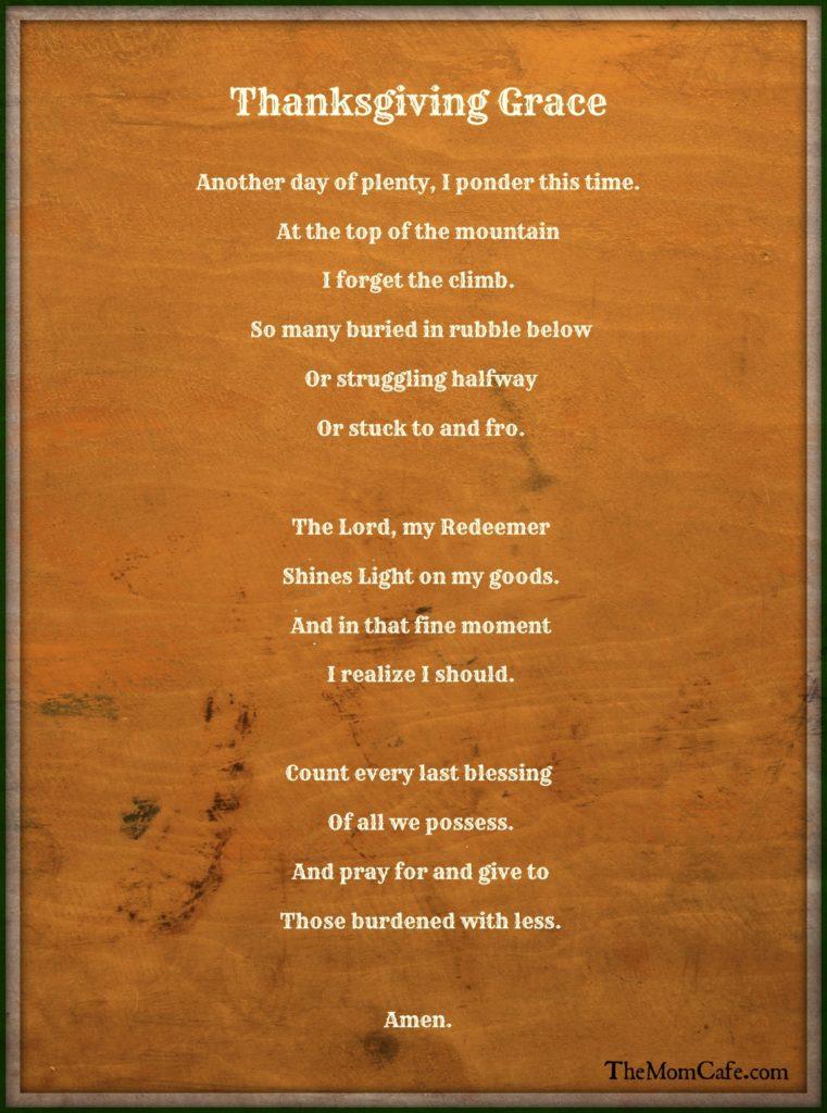 Thanksgiving prayer, Grace,