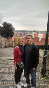 Derek and I on Steps going up to Prague Castle